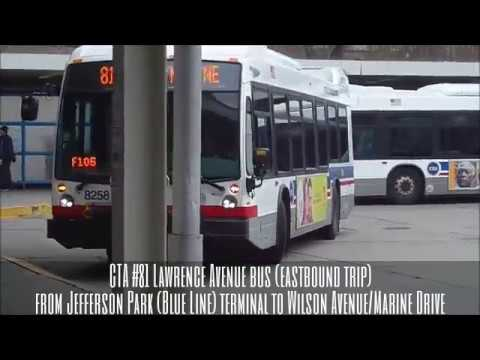 CTA #81 Lawrence Avenue bus (EB trip) route from Jefferson Park terminal to Wilson/Marine Drive