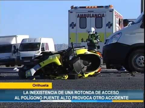 La falta de una rotonda de acceso al polígono Puente Alto de Orihuela provoca otro accidente
