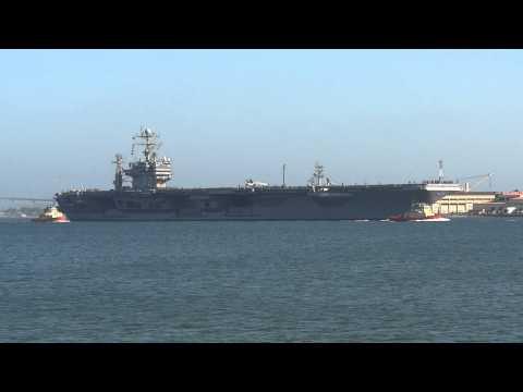 Nimitz class aircraft carrier USS Abraham Lincoln CVN-72 leaves NAS North Island San Diego CA