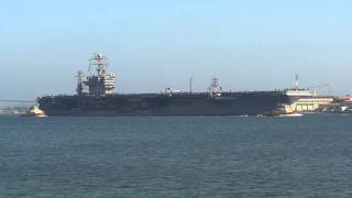 Nimitz class aircraft carrier USS Abraham Lincoln CVN-72 leaves NAS North Island San Diego CA