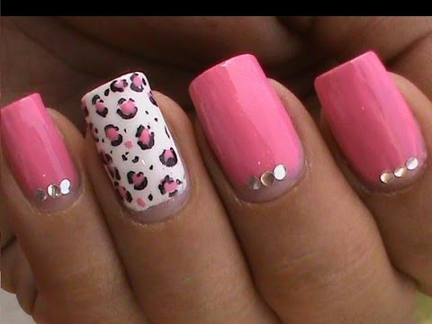Leopard Nail Art Designs Cute Pink Youtube