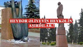 Salyanda Heydər Əliyevin heykəlin aşırdılar