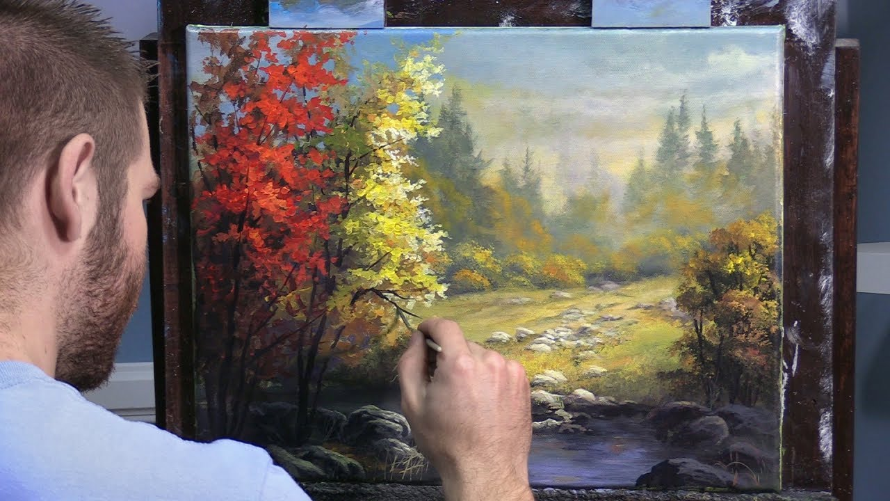 Misty Autumn Landscape Paint With Kevin Youtube