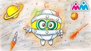 Smeshariki Cartoon, Zeichnung Bi Bi. Smeshariki cartoon, draw bi-Launchpad.