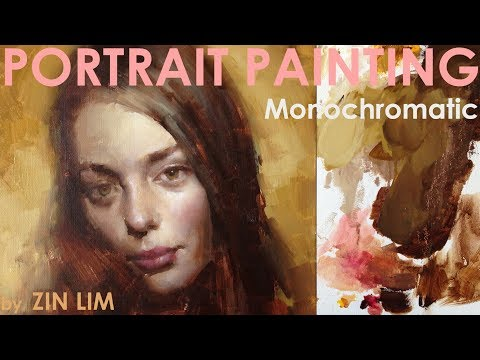 Monochromatic Portrait Painting of Female.