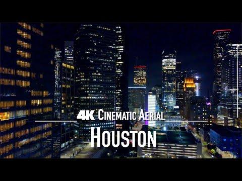 HOUSTON by Night Drone 4K 2021 | Texas TX USA
