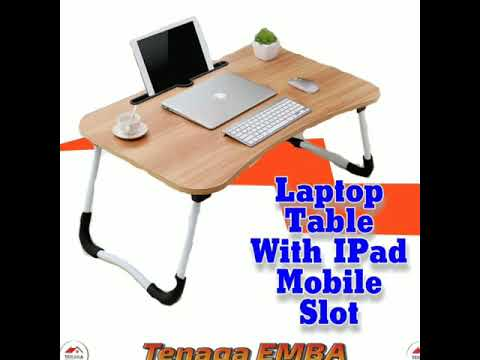 Foldable Anti-Slip Laptop Table Multifunctional Desk with IPad Mobile Slot.