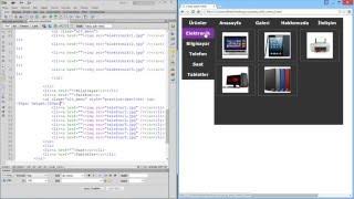 CSS ile Yatay Açılır Menü Yapımı 3 Resimli Menüler