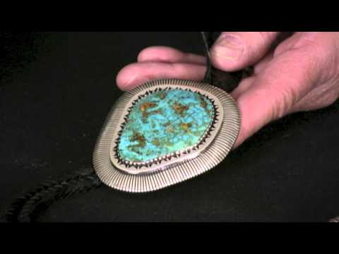 Navajo 92 Cts Tyrone Turquoise Bolo Tie By Allison Lee (#74)