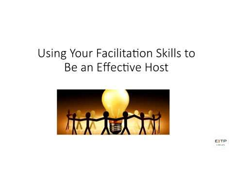 Web Conversation: Using Your Facilitation Skills to Be an Effective Host