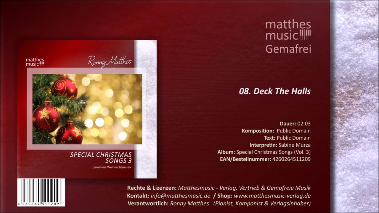 Deck The Halls (08/13) [Royalty Free Christmas Song] - CD: Special ...
