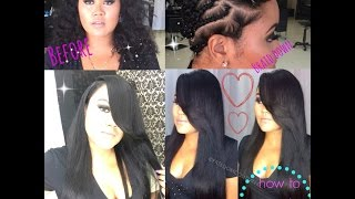 How to Install 3 Bundles for a Leave out weave,Deep Side part