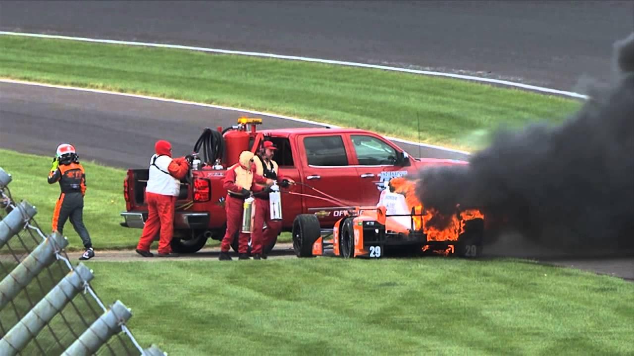 Simona de Silvestro's car bursts into flames during Indy 500