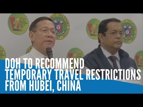 DOH to recommend temporary travel restrictions from Hubei, China