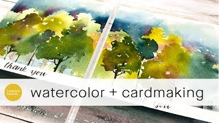 how to paint loose watercolor landscapes for greeting cards