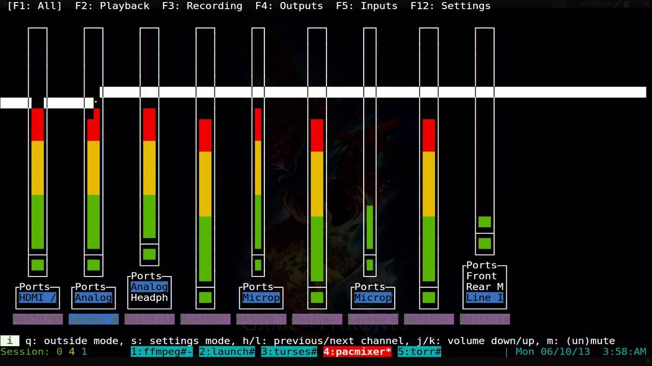 Pacmixer - PulseAudio Mixer - Linux TUI