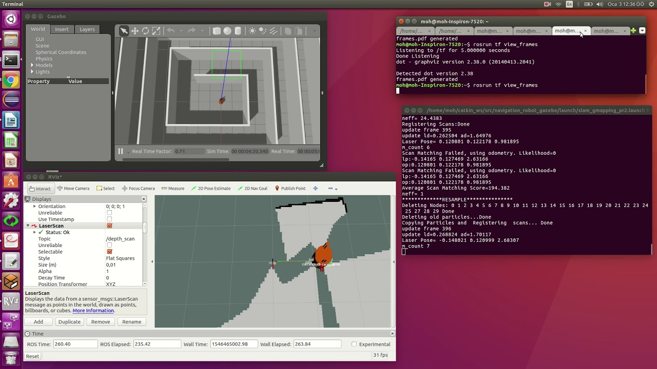 Ros Kinetic - Kinect + Deptheimage to laser scan+gmapping slam error