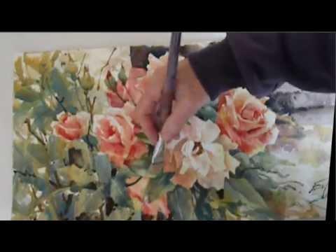 Ev Hales Painting Roses Demonstration Stage 2