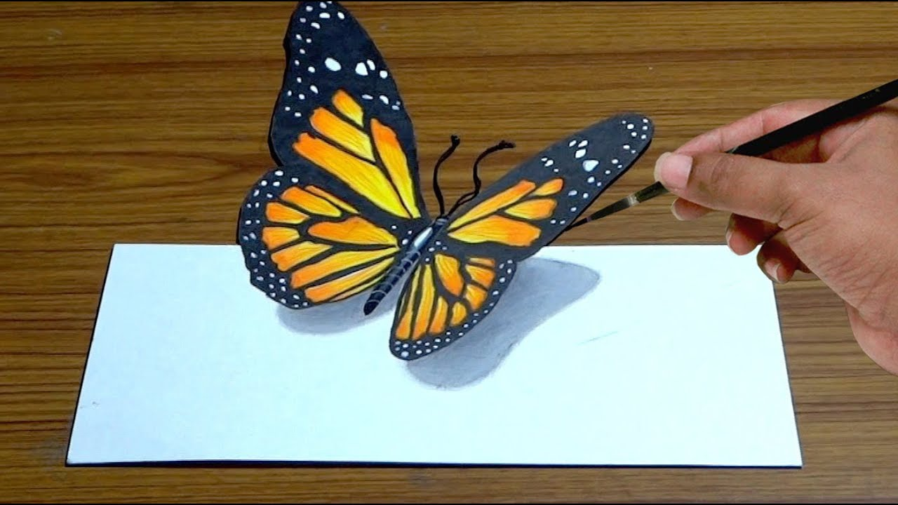How to draw 3d butterfly in simple way anamorphic illusion 3d trick art drawing