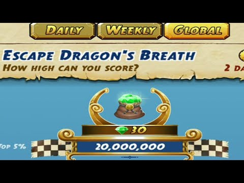 45000 METERS WITHOUT SAVE ME - Temple Run 2 ESCAPE DRAGON'S BREATH CHALLENGE