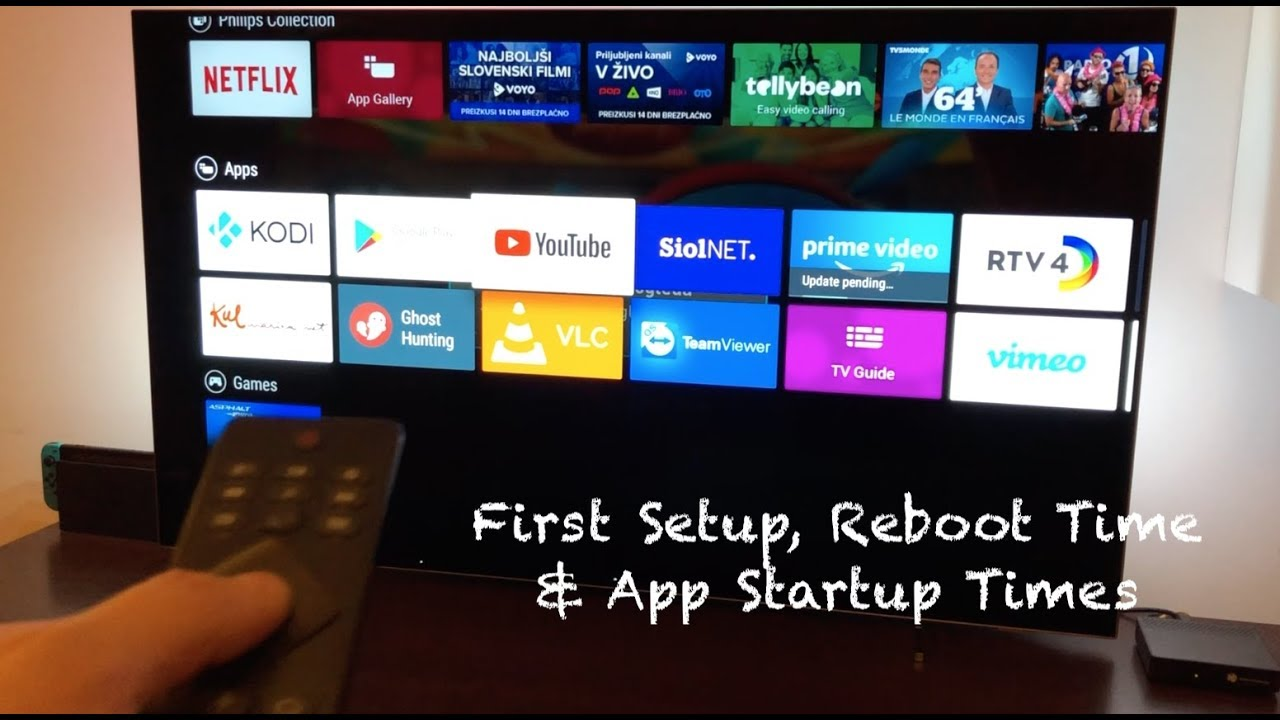 My Android Tv Philips 55oled803 First Setup Reboot Time App Launch Times Youtube