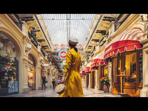 Moscow 4k, Russia - Walking tour - GUM, Famous Shopping Mall