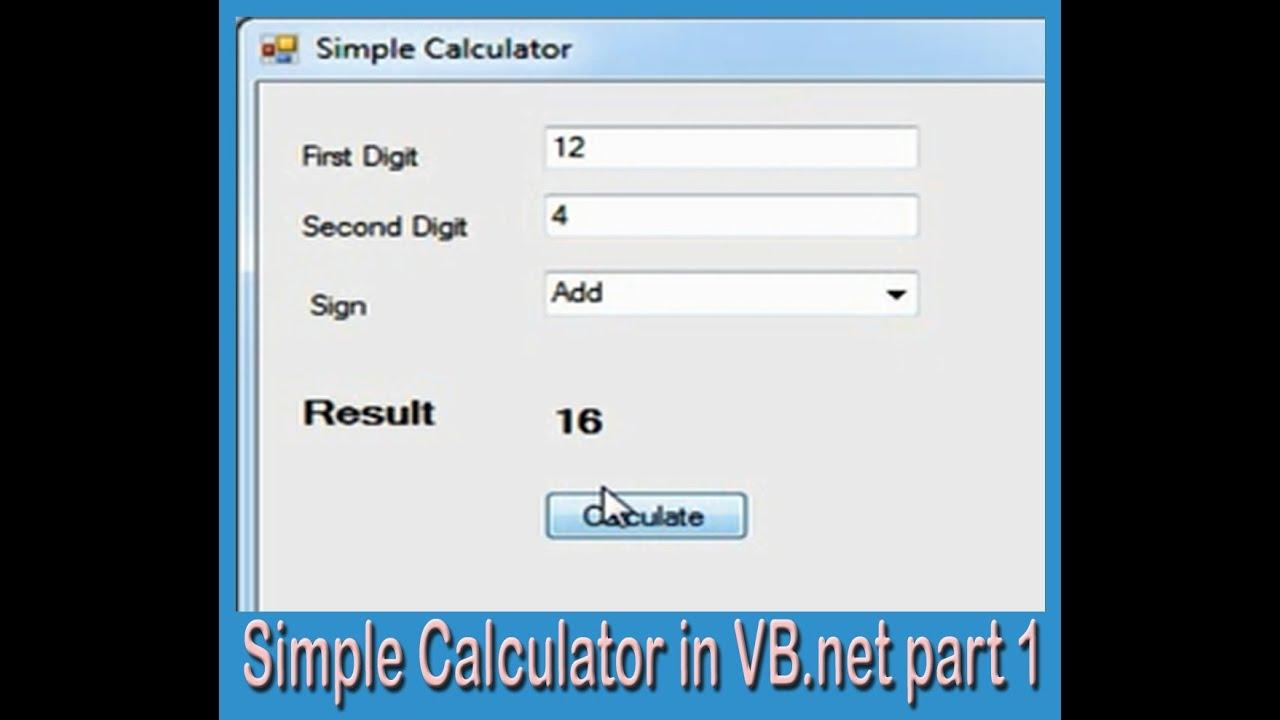 how to create a calculator in visual studio
