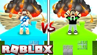 CASA DO GAH VS HOUSE OF BRUNINHO AGAINST NATURAL DISASTERS IN ROBLOX!
