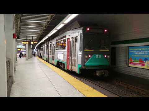 [4K] Three Late MBTA Green Line Trains One After Another @Government Center