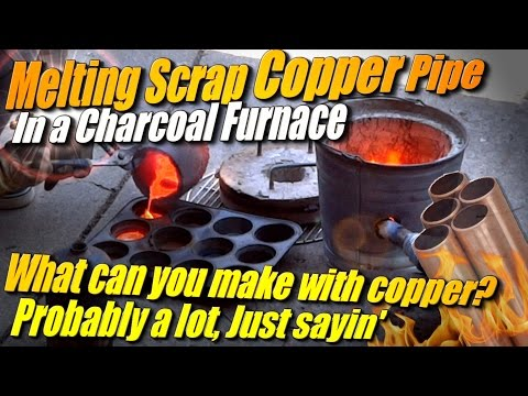 Melting Copper into Ingots with Charcoal in my Improved Mini Metal Foundry
