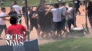 Video shows adults brawling at kids' baseball game