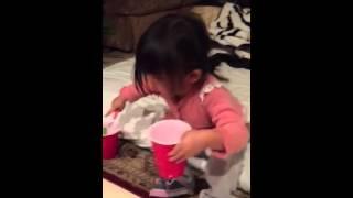Bella Eating Vanilla Banana Smoothie 2year 3months