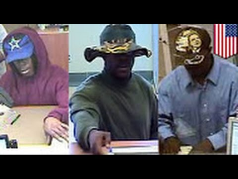 Fashionable, hat-loving New York bank robber caught on tape rocking different outfits for each heis