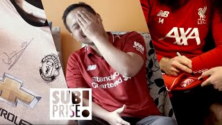 Liverpool fan finds out he won a Man Utd jersey!
