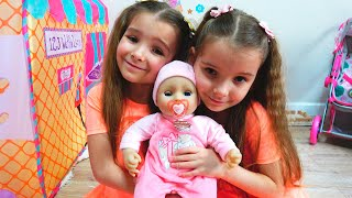 Кукла Беби Аннабель Ксюша и Арина играют Как Мама Видео для детей / Magic Twins