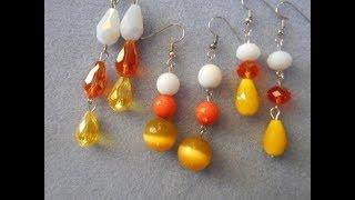 Candy corn inspired earrings, basic earring tutorial