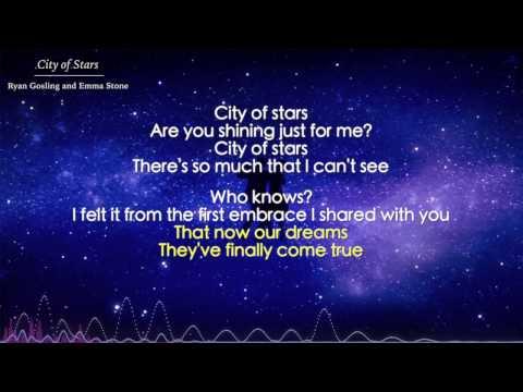 City of Stars - Ryan Gosling and Emma Stone (Lyrics) - La La Land OST