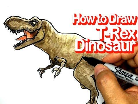 공룡 그림 그리기 티라노사우루스 렉스 그림그리기 How to draw T-Rex Dinosaur Tyrannosaurs Drawing [노란연필TV]