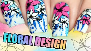 FLORAL NAIL DESIGN | Reverse stamping with PUEEN nail art products