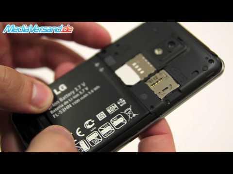 LG P990 OPTIMUS SPEED SIM-Karte und Akku einsetzen