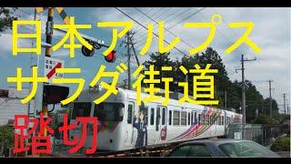 【踏切】日本アルプスサラダ街道踏切 アルピコ交通 淵東~波田