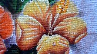 Como pintar Hibisco Amarelo em tecido