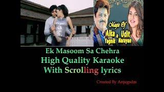 Ek Masoom Sa Chehra || Zindaa Dil (2003) || Karaoke with scrolling lyrics (High Quality)