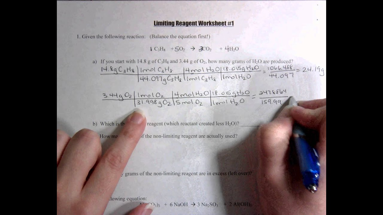 Limiting Reagent Worksheet Answers Cute766