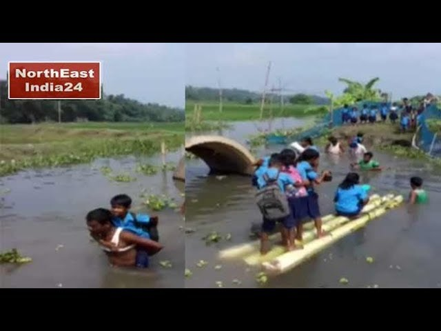 Assam Students Cross River On Banana Stems To Reach
