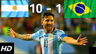 فضيحة كروية / ملخص مباراة البرازيل والأرجنتين 1-10 ◄ تالق ميسي ◄ مباراة ودية◄جنون رؤوف خليفHD