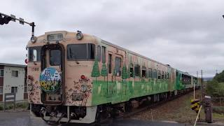 〔4K UHD/sp〕JR北海道・宗谷本線:名寄駅付近〈SL排雪列車キマロキ〉、キハ40系+キハ48系/観光列車『風っこ そうや号』通過シーン。《9343D》