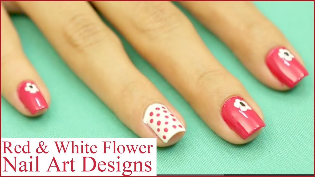 Step By Step Red & White Flower Nail Art Designs Tutorial - YouTube