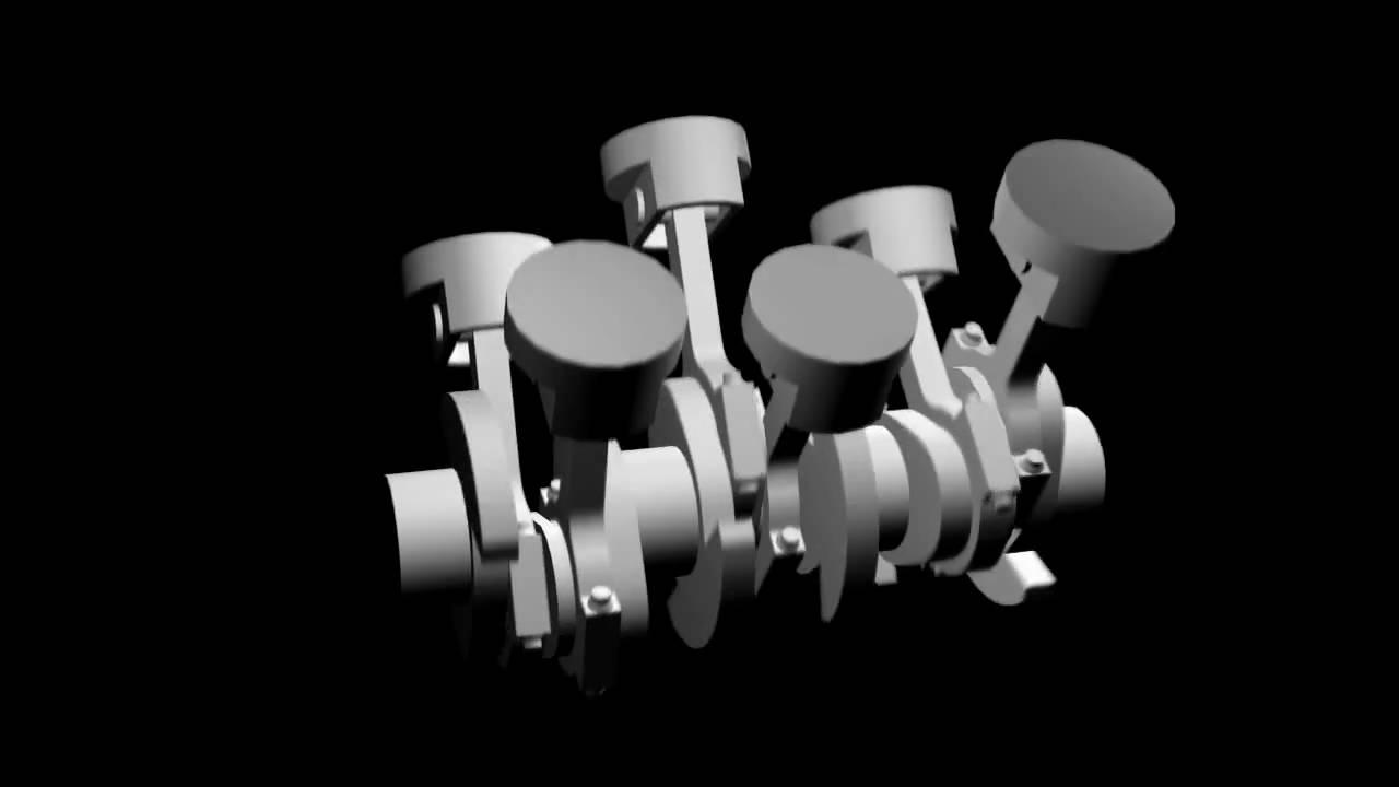 V6 engine animation - Flying pin #2