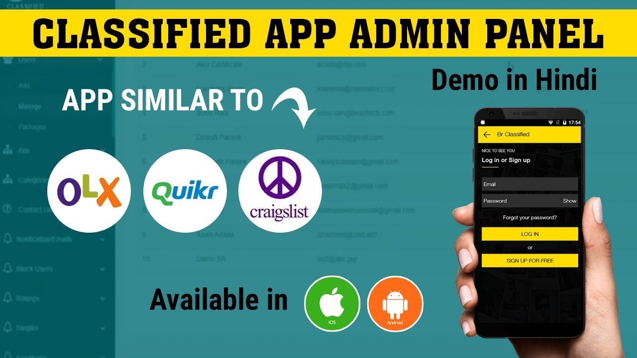 Classified App like Quikr and Olx   BR Classified Admin Panel Demo in Hindi